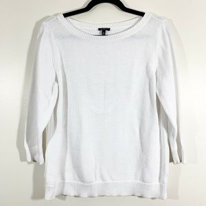 Talbots White 3/4 Sleeve Anchor Crew Neck Pullover